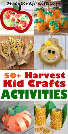 harvest Kid Crafts- fall kid craft – activities recipes math reading books amore… - Fall Crafts For Toddlers Harvest Crafts For Kids, Harvest Activities, Fall Crafts For Toddlers, Fall Preschool Activities, Fall Crafts For Kids, Thanksgiving Crafts, Fun Crafts, Thanksgiving Activities, Bonfire Crafts For Kids