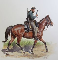 Here is a Confederate Cavalryman of the 34th Virginia , July of 1863. The 34th were really mounted infantry and armed with an assortment of long-arms including Mississippi and Austrian Rifles.