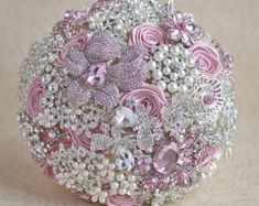 Bridesmaids Bouquet Gifts Ivory Blush Pink Silver Wedding Brooch Bouquet  Custom Fabric Brides Pearls Fuchsia Bridal Bridesmaids Bouquet b65748d515