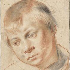 Jongenskopje, en face, het hoofd naar links, Annibale Carracci, 1580 - 1589 - Rijksmuseum
