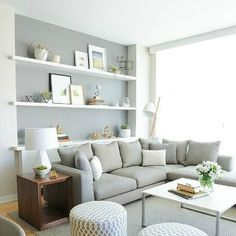 Living in an apartment, or in an older home with tiny rooms, can present a challenge: how to make your limited space seem larger. Try these 80 Stunning Modern Apartment Living Room Decor Ideas And Remodel. Small Living Rooms, Home And Living, Cozy Living, Living Area, Small Living Room Layout, Living Room Grey, Grey Room, Living Room Decor Colors Grey, Corner Sofa Living Room Layout