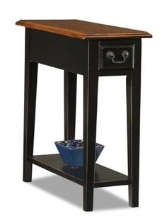 Features:  -Bottom display shelf.  -The shelf and box sides around the drawer are veneer, the rest is solid wood.  -Classic shaker / mission design.  -Blackened metal drawer pull.  -Dovetailed, drawer