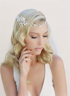 Bridal Hair Wreath, Crystal and Pearl Hair Garland, Bohemian Wrap Hair Crown, Bridal Headband Style: Jazmin #1505