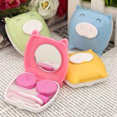 Piggy Contact Lens Case Mirror Tweezer Stick Bottle Holder Box set