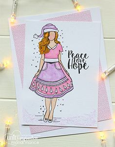 BRAND NEW on the UNITY Website!  This kit includes3 stamps.  Created by our own Unity Artista, Angie Blom.  {a bit about Angie Blom}  I have been making and creating girls most of my life , I just love putting them in different outfits, having a theme to them… But was so inspired by my first mixed media class 2 years ago … I love to draw so these girls came naturally to me. I could spend hours drawing them.. So I decided to take a leap of faith and submitted them. I wanted to share them…