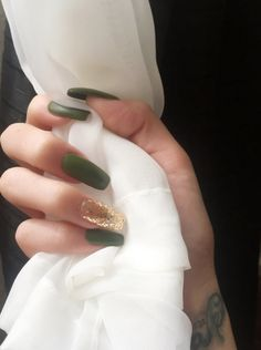 Olive and gold coffin nails