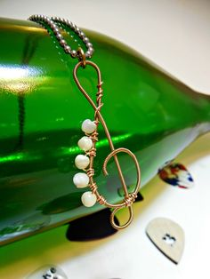 Guitar String Treble Clef with Cream Beads pendent Necklace 24 inch chain - RECYCLED! - pinned by pin4etsy.com