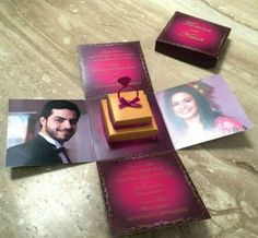Unique invitation cards☺ Indian Wedding Invitation Cards, Creative Wedding Invitations, Indian Wedding Invitations, Wedding Stationery, Birthday Invitations, Invites, Marriage Invitation Card, Marriage Cards, Invitation Card Design