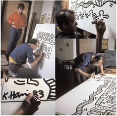 Keith Haring, 80's creator and social activist, works on a mural for a fence around the Haggerty Museum in 1983.