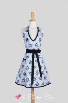 Sexy Womens Halter Apron . Elegant Gray and Black by CreativeChics https://www.etsy.com/listing/206136449/sexy-womens-halter-apron-elegant-gray?ref=related-6