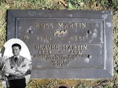 Ross Martin (born Martin Rosenblatt, March 22, 1920 – July 3, 1981) was an American radio, voice, stage, film and television actor. Martin was known for portraying Artemus Gordon on the CBS Western series The Wild Wild West, which aired from 1965 to 1969. On July 3, 1981, Martin suffered a fatal heart attack after a game of tennis at a club in Ramona, California. Cemetery Headstones, Cemetery Art, Wild West, Ramona California, Titanic Artifacts, Famous Tombstones, In Memorium, Grave Markers, Famous Graves