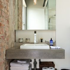 concrete counters white sink