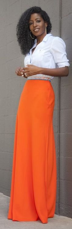Neon Orange Maxi Skirt Outfit Idea by Style Pantry