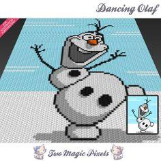 Dancing Olaf Disney Frozen inspired c2c graph crochet pattern; instant PDF download; baby blanket, corner to corner pixel, afghan, graphghan by TwoMagicPixels, $3.79 USD