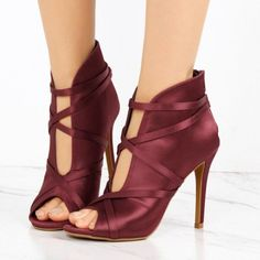 Fashion Maroon Lace up Boots Peep Toe Satin Ankle Boots For Women For Work Chic Fashion Prom Shoes Elegant Wedding Dresses Shoes Winter Outfits 2018 Sexy High Heels Shoes Spring Dresses Shoes Work Shoes Women Heels Classy, Party, Dancing Club, Ball, Anniversary, Going Out, Honeymoon | FSJ
