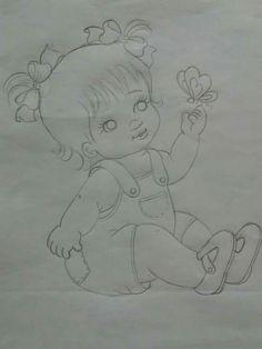 Art Drawings Sketches Simple, Pencil Art Drawings, Bird Drawings, Cute Drawings, Graffiti Lettering Alphabet, Fabric Paint Designs, Baby Drawing, Pencil Painting, Cute Little Girls
