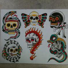 Future Tattoos, New Tattoos, Cool Tattoos, Traditional Flash, American Traditional, Skull Tattoo Design, Tattoo Designs, Traditional Tattoo Design, Chicano Art