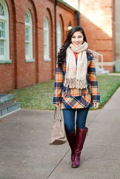 Our plaid coat is a stunner on Lynne Gabriel.