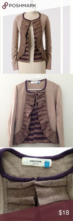 """Anthropologie Masked Stripes Cardigan Anthropologie masked striped cardigan, excellent used condition. Beige color with purple stripes, Sparrow brand size small. Fabric,  Lambswool, viscose, cotton, angora, cashmere Measurement, 22"""" from top to bottom,  19"""" armpit to armpit 26"""" sleeve length Anthropologie Sweaters Cardigans"""