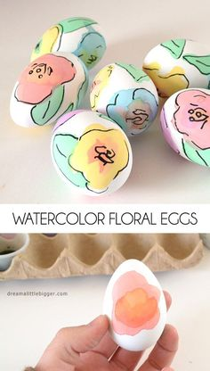 You don't need to be an artist to make these beautiful watercolor floral Easter eggs.