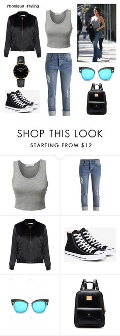 """""""Inverted triangle . Casual"""" by monicazelin on Polyvore featuring LE3NO, Glamorous, Converse and CLUSE"""