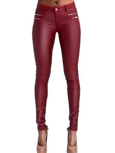 Double zippers low rise leather skinny jeans in wine red 1f42ce461be6