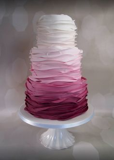 Pink Ombre Ruffle Wedding Cake