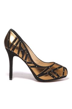 Women's Trend: Gold Hardware  (Alexandre Birman's metallic leather and suede pump with nailhead details)