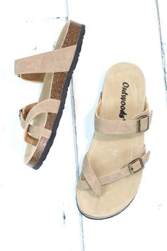 d375b2c750e9 Toe Strap Bork Slide On Sandals Leather Look  Taupe . TFL