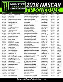 graphic relating to Printable Nascar Schedules named Impression outcome for nascar program 2019 printable NASCAR