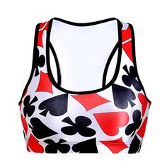 Womens Seamless Workout Sports Running Yoga Bra Playing Card Printed ** Continue to the product at the image link.