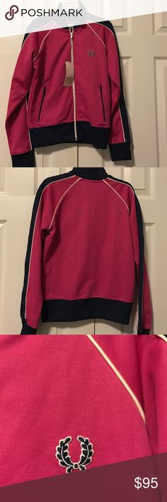 Fred Perry pink and navy blue zip up jacket Size 4 navy detail popped collar retro pink jacket new Fred Perry Jackets & Coats