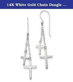 14K White Gold Chain Dangle Cross Shepard Hook Earrings (2.2IN Long x 0.5IN Wide). Length: 56MM x Width: 12MM / Polished / Shepherd hook / Dangle / Solid 14K White Gold (Not plated, not gold-filled).