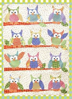 The Okey Dokey and Friends Appliqué Quilt is by far and away Jennifer Jangles best selling pattern. Sewists have so much fun making this quilt. This quilt pairs nicely with Okey Dokey Owl for the perf Colchas Quilt, Patchwork Quilt, Owl Quilts, Bird Quilt, Cute Quilts, Animal Quilts, Quilt Blocks, Quilting Fabric, Owl Applique