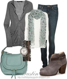 #Grey with pretty #turquoise #outfit - Grey with pretty turquoise outfit