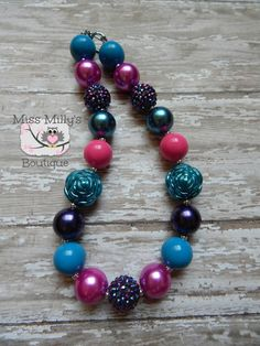Maroon Girls Chunky Gumball Necklaces by MissMillysBoutique, $16.00