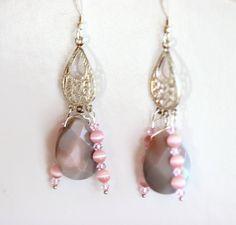 Pink Teardrop Chandelier Earrings Botswana Agate Sterling Silver Dangle Free Shipping by NevadaLadyJ on Etsy