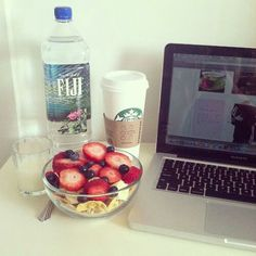 cereal + bowl of fruits + starbucks + fiji water (of course, i mean who wouldn't?) + macbook pro= life