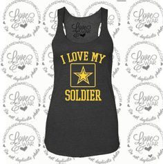 LOVEANDWARCLOTHING - I love my Soldier large emblem tank top, $24.95 (http://www.loveandwarclothing.com/i-love-my-soldier-large-emblem-tank-top/)