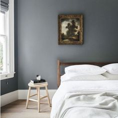 Grey theme today; wonderful bedroom inspiration, the cosiest dark grey walls.  Found on Pinterest via apartment34.