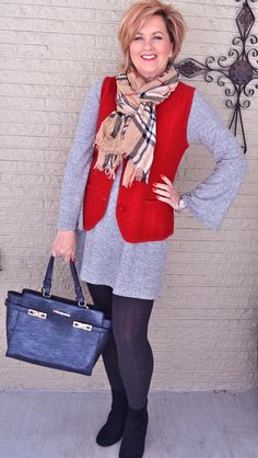 50 Is Not Old   Fashion Is Ageless   Red   Vest   Tunic   Fashion over 40 for the everyday woman