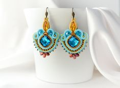 Romantic colorful soutache earrings, handmade, beaded, hand-sewn, gift for her, by nikuske on Etsy Soutache Earrings, Crystal Earrings, Crystal Beads, Small Earrings, Black Earrings, Gifts For Women, Gifts For Her, Christmas Gift Inspiration, Earrings Handmade