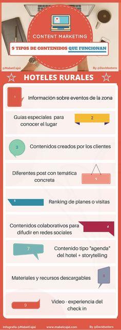 9 tipos de contenidos que funcionan en marketing para hoteles rurales #infografía