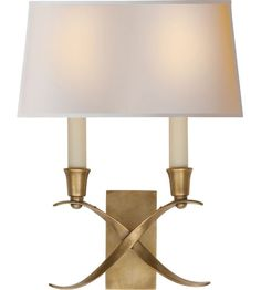 Visual Comfort E.F. Chapman Cross Bouillotte 2 Light Decorative Wall Light in Antique-Burnished Brass CHD1190AB-NP #visualcomfort.  Also comes in nickel.