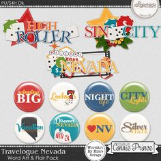 Travelogue Nevada - WordArt & Flair Pack by Kim using Travelogue Nevada by Connie Prince. Includes 3 cluster wordart images, saved in PNG format & 9 flair buttons (includes a version without the shine & a printable image sheet). Shadows are included. Scrap for hire / others ok.