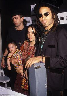 Family ties: Lisa Bonet, holding baby Zoe Kravitz,and her ex-husband singer Lenny Kravitz in 1989