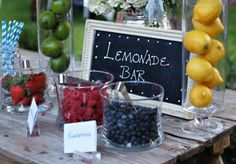 A lemonade bar is a fun idea for your reception or cocktail hour. Wedding by Emily Clarke Events. Photo by J. May Photo. #wedding #lemonadebar #lemonade