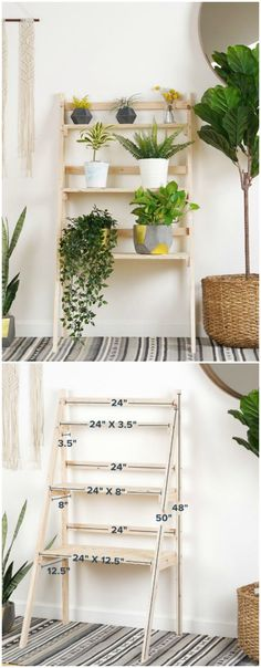 50 DIY Plant Stand Ideas for an Outdoor and Indoor Decoration TAGS: House plants, Hanging plants, Indoor plants decor, Plant stand indoor ideas, Wood plant stand Plant Ladder, Diy Ladder, Wood Ladder, Plant Shelves Outdoor, Outdoor Plant Stands, Ladder Shelves, Garden Ladder, Hanging Shelves, Floating Shelves