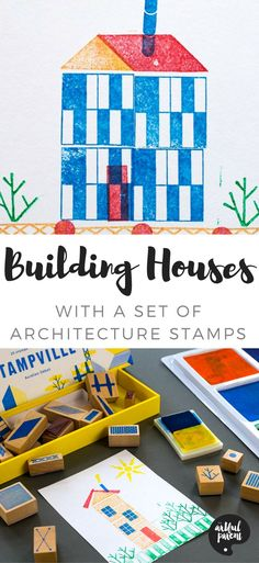 This Stampville architecture stamp set is open-ended and allows kids and adults to build any number of houses, buildings, and scenes with the large variety of simple rubber stamps included. #kidsart #kidsactivities #stamp #printmaking
