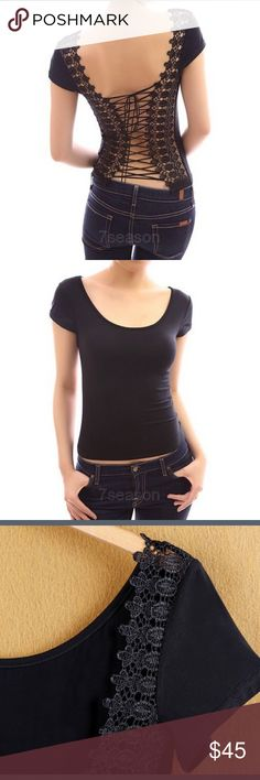 Black Corset Shirt This shirt is super sexy and stylish. A truly unique shirt with very comfortable fabric. The sizes come large so you should get one that is one size smaller than you. Tops Tees - Short Sleeve